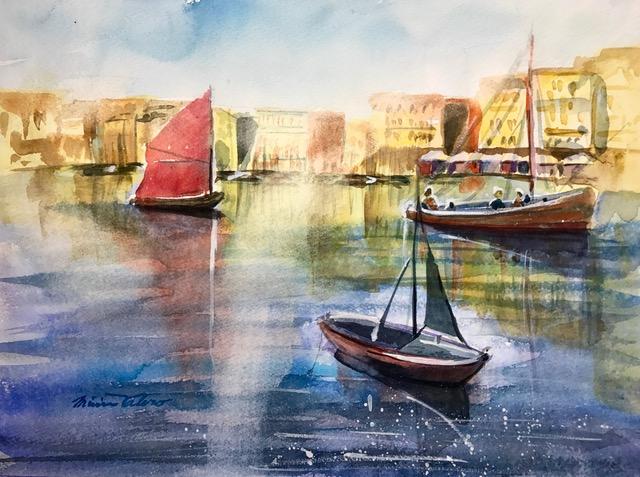 LE PORT DORE / watercolor / 11 x 15 in