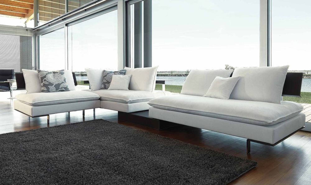 polaris leather white italian sofa in contemporary black sectional