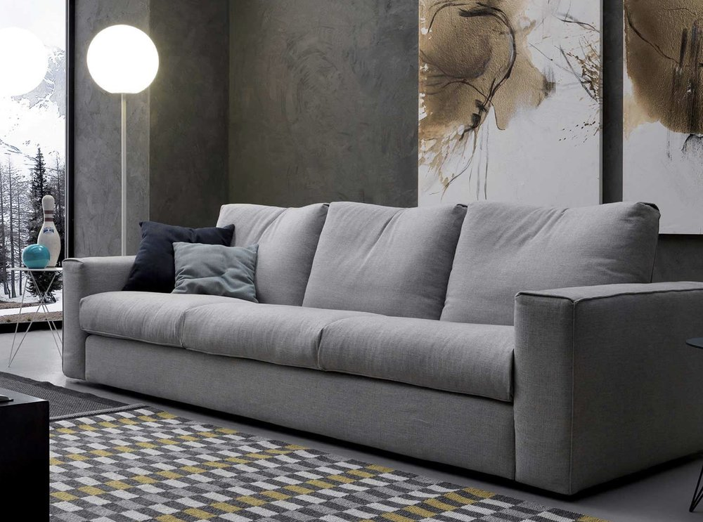 This Italian Designer Sofa Is Available In A Wide Selection Of Modern  Fabrics And In A Luxurious Full Grain Leather Available In Different Colors.