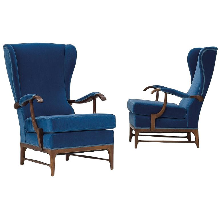 Paolo  Buffa Lounge Chairs 1950s, blue leather