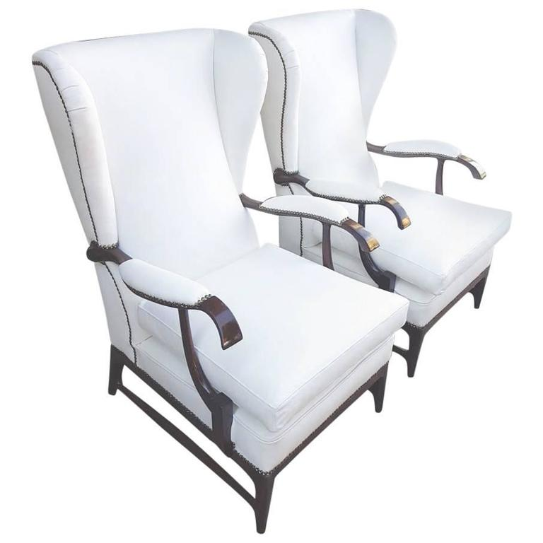 Paolo Buffa Lounge Chairs White Leather Wingback Style 1950s Restored