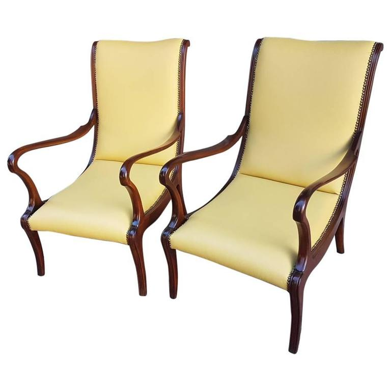 Italian 1950s Lounge Chairs Fully Restored Leather Upholstery Wood Structure