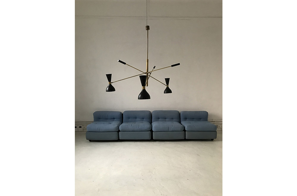 LM 03 Italian Mid-Century Style Three Arms Chandelier