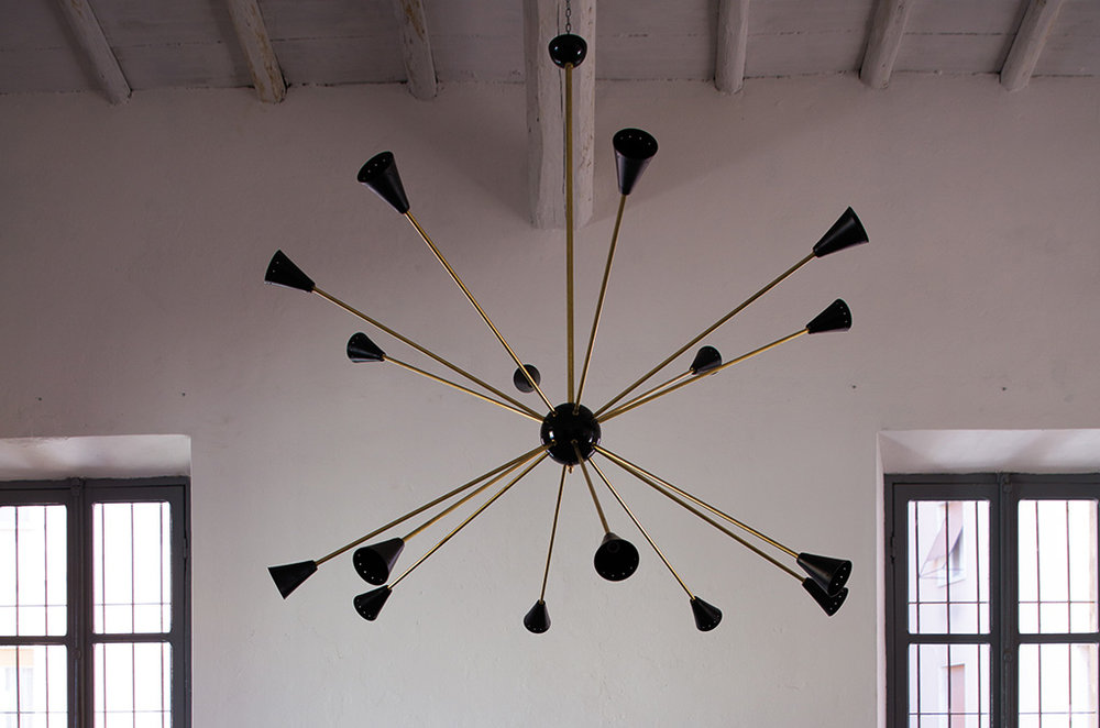 LM 04 Italian Mid Century Style Sputnik Chandelier