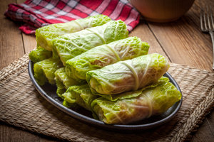 PORK STUFFED CABBAGE WITH SOUR CHERRIES