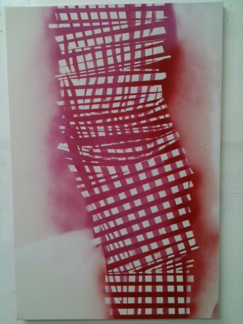 CHERYL DONEGAN, UNTITLED_(DRESS_KUBA) 2011 SPRAY PAINT ON CANVAS 24 X 36 INCHES