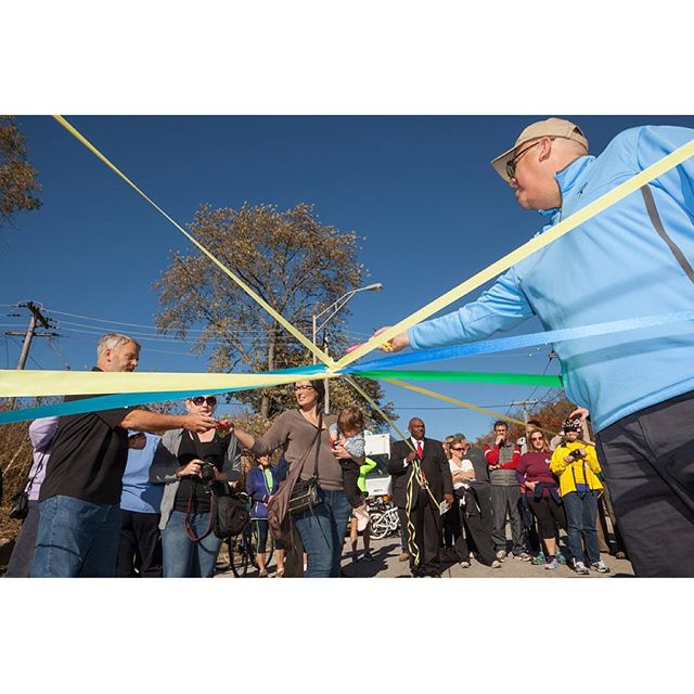 The spoked wheel of ribbons cut yesterday at the Thorn Creek Trail/Old Plank Road Trail/#SouthlandCentury/#GIT opening. Brilliant idea of @nationalparkservice's @bantanps. Thanks @thomas_photographic for the shot!