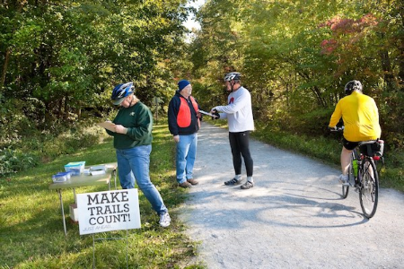 Making Trails Count survey volunteers on Rock Island State Trail