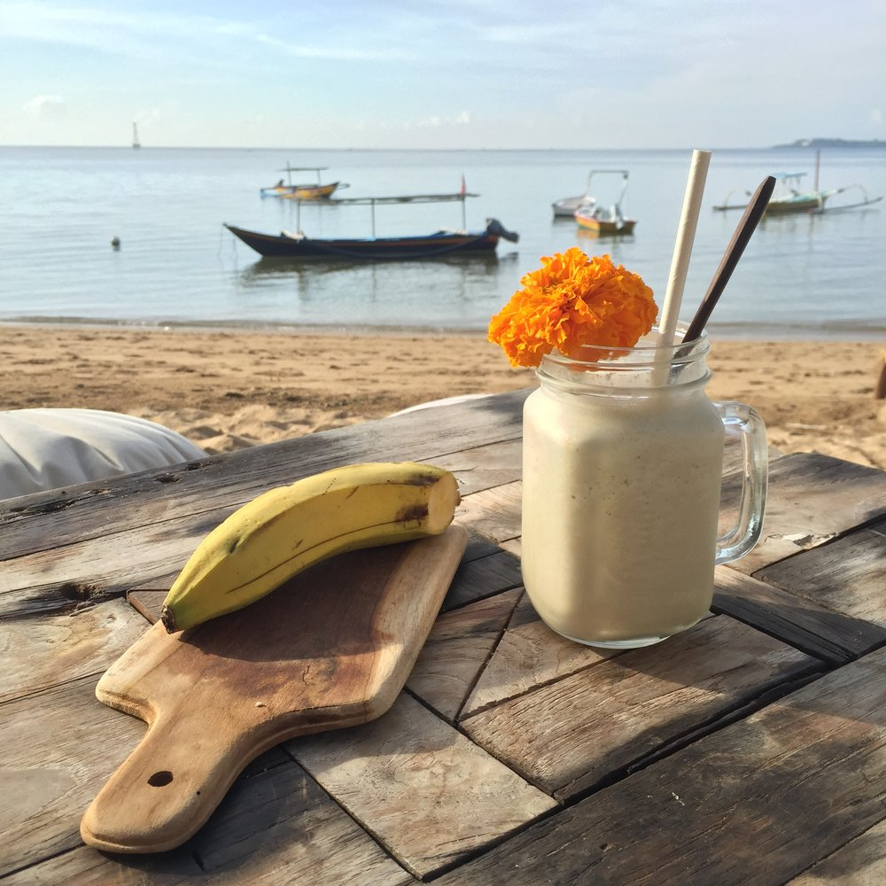 Sanur Beach, Bali. Genius Cafe at Power of Now Oasis.