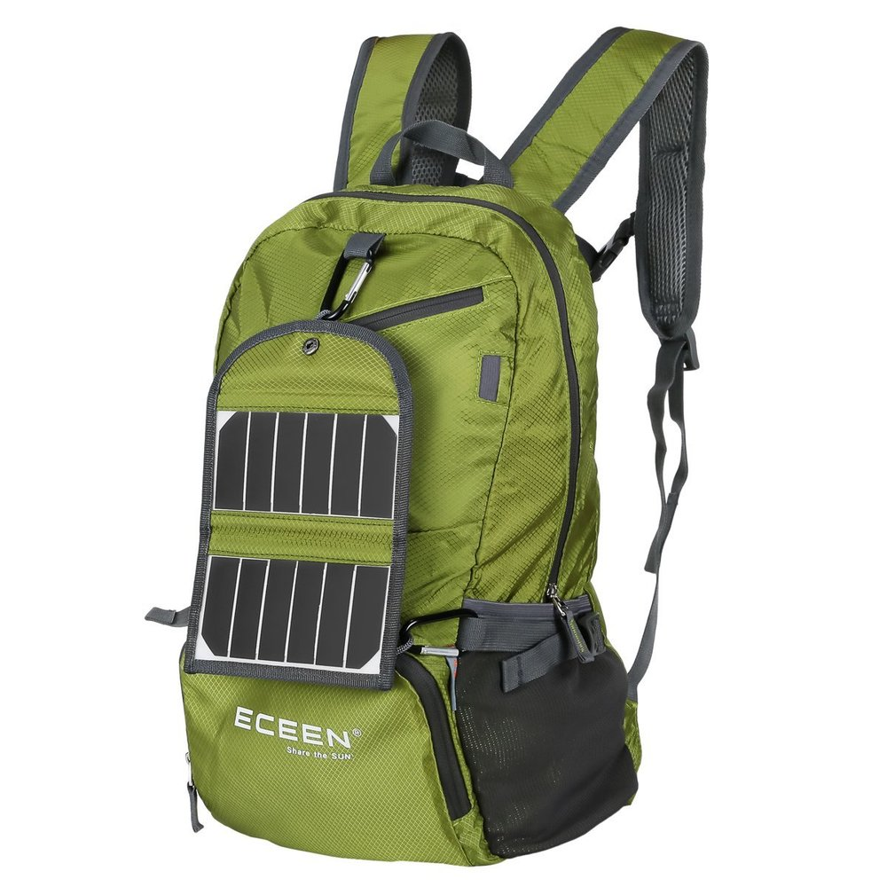 Solar charger backpack perfect for adventure seeking remote workers and digital nomads.