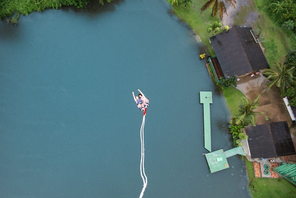 Tandem bungee jumping with your remote team promotes healthy risk taking while having fun in Phuket Thailand