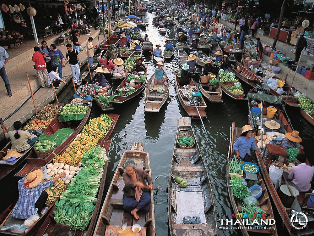 Thailand floating markets in Bangkok Damnoen Saduak Amphawa Talin Chan Khlong Lat Mayom Bang Nam Pheung