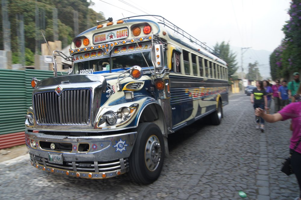 Chicken bus local public bus to get around Guatemala.