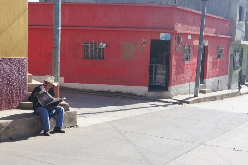 Sunshine lines the streets of San Martin Jilotepeque.