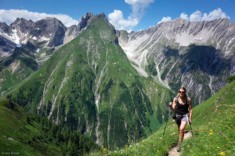Image source:www.mountainphotography.com Hiker enjoying the Lechtal Alps in Austria.