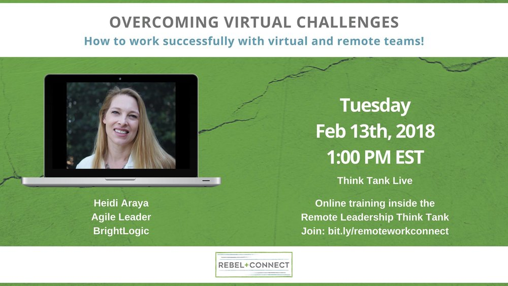 Remote team and virtual team success. Overcome virtual challenges with Heidi Araya.