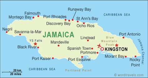 North america map jamaica