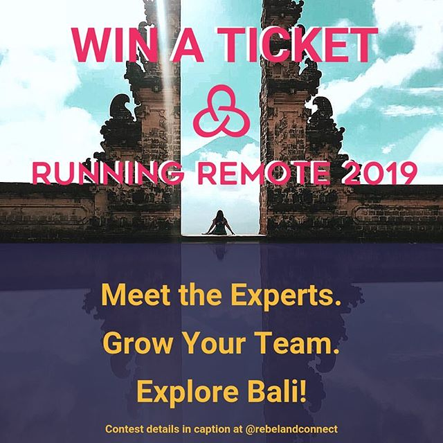 Video communication is great, but sometimes it just doesn't cut it. That's why in-person events are so important. One of our favorite in-person events is Running Remote in Bali! We are offering you the chance to win a FREE 🎟ticket! To win a ticket, follow these steps:  1. Post a picture 📷 of you and your team together on a retreat or a picture of you connecting with others at your favorite in-person event. 2. Tag @RunningRemote in the photo. 3. Follow @RunningRemote 4. Follow @RebelAndConnect 5. Follow @RemoteWorkSummit  More about Running Remote: Join top remote work 👨🏽‍💻 leaders at Running Remote for 2 days of talks and workshops from the top echelon speakers at a magnificent beach venue in Bali June 29-30 2019: Expect a carefully curated program to teach you next-level, actionable strategies, and tactics you can utilize the very next day to build & scale your distributed team. 👩🏼‍💻 | #remoteleadershipsummit