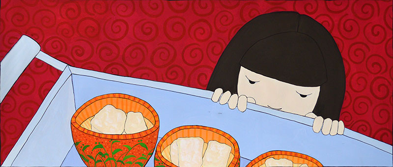 """SWEET TOFU"" FROM ""DIM SUM FOR EVERYONE!"", GOUACHE ON PAPER, GRACE LIN"