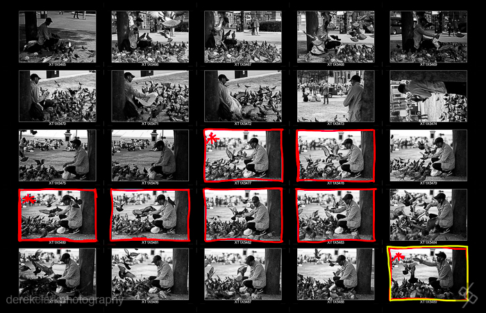 The final contact sheet showing red markings for my favourite frames & yellow for the best one