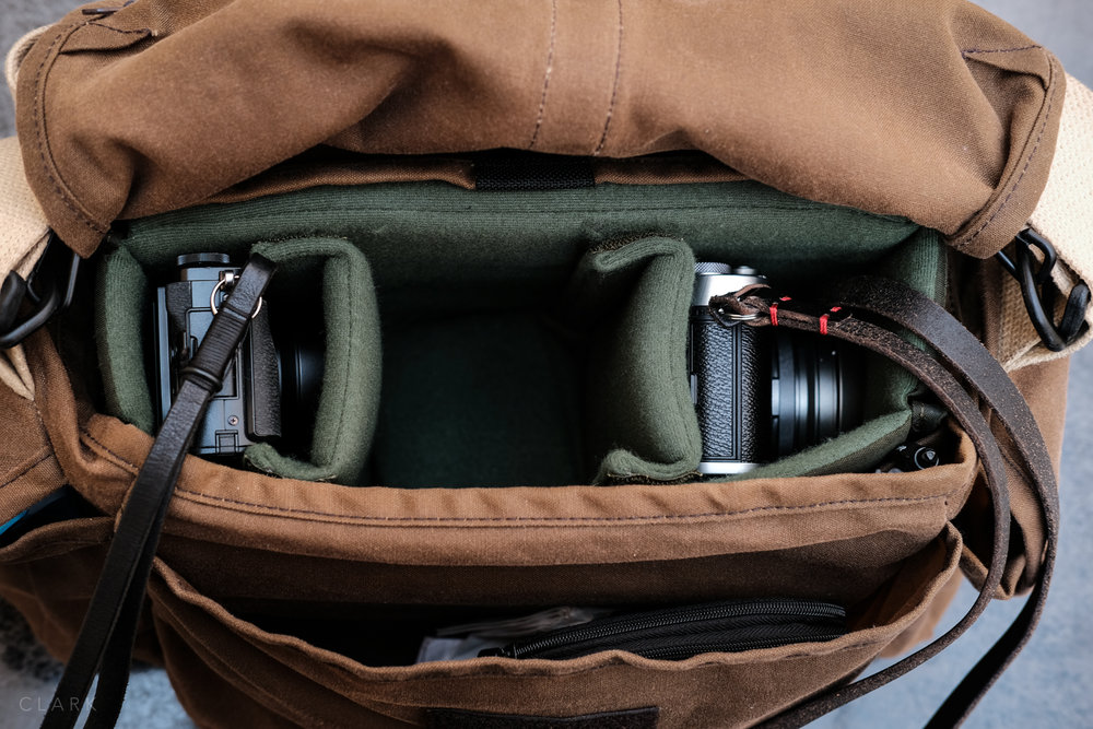 The Dome F-3X with the Hadley Small Insert keeps the bag nice and slim. The centre space holds my X-Pro2 and 35mm f2 attached.