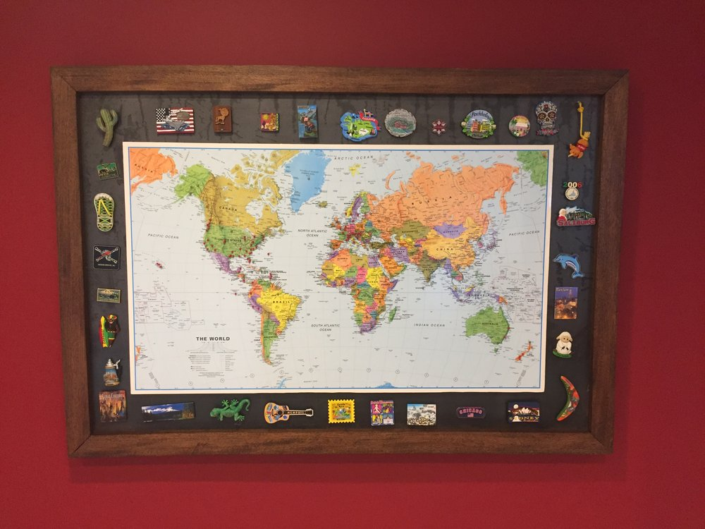 Mahogany and steel frame for world map union artisan custom we used brazilian mahogany framed around raw steel that would allow ryan and his family to display the magnets theyve collected during their world travels gumiabroncs Gallery