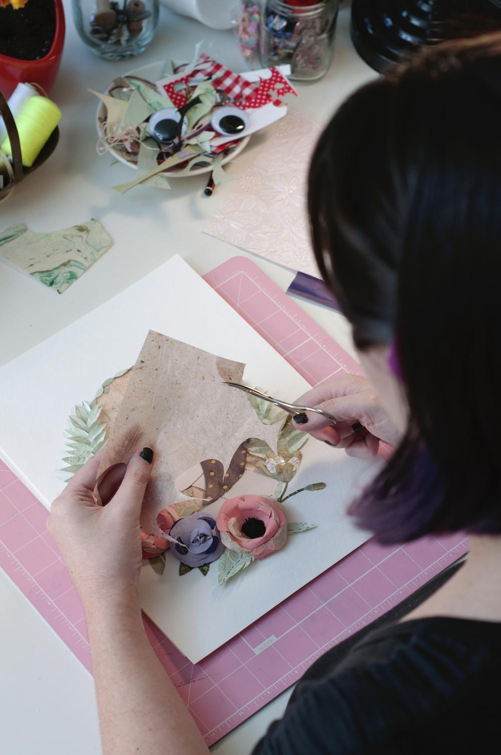 Tara Galuska Paper Artist creating in studio