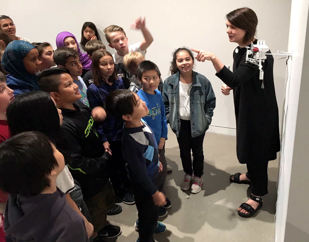 Sarah Joyce expertly getting her young visitors wound up and excited about art and technology. Joyce gives amazing tours, visitors come away with many thoughts and ideas exploding inside their brains.