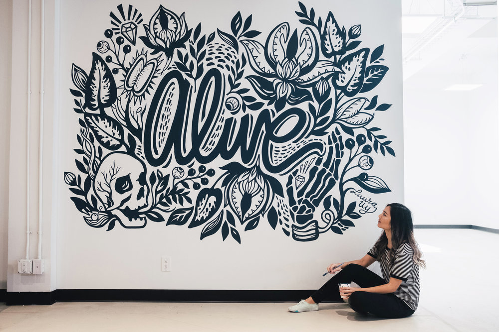 Laura Yu  and her mural, photo taken by  Abhishek Dhoj Joshi .