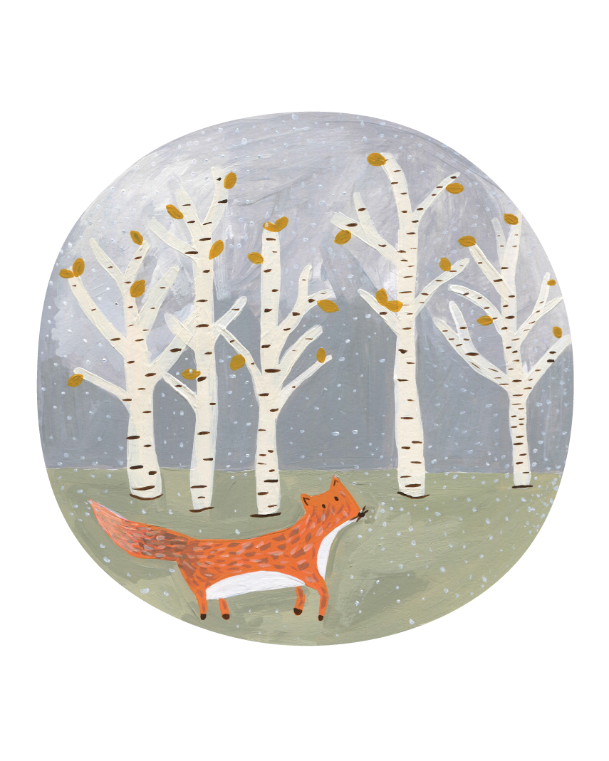 Fox's First Snow // Acrylic Painting by Alyson Dietz // www.alysondietz.com