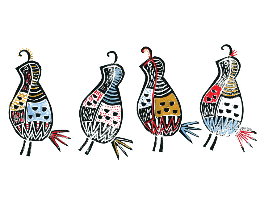 Dance of the Quail // Block Print & Acrylic by Alyson Dietz // www.alysondietz.com