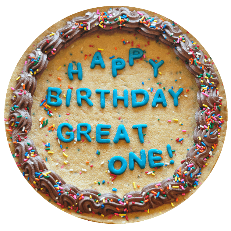 - Enjoy our traditional chocolate chip or the new sprinkle birthday dough in cake form! Our *custom* cookie cake comes with icing around the edge as well as your custom message! The message letters are made out of a marshmallow fondant.