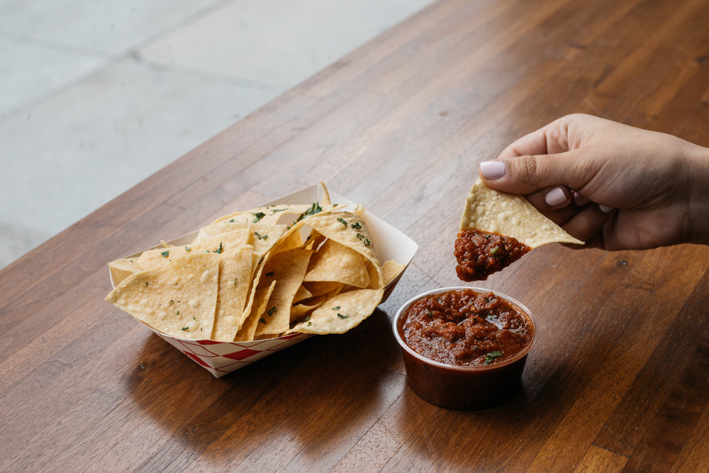 CHIPS + SALSA 5 - VEGAN + GLUTEN FREE. House Chips. Roasted tomato salsa.