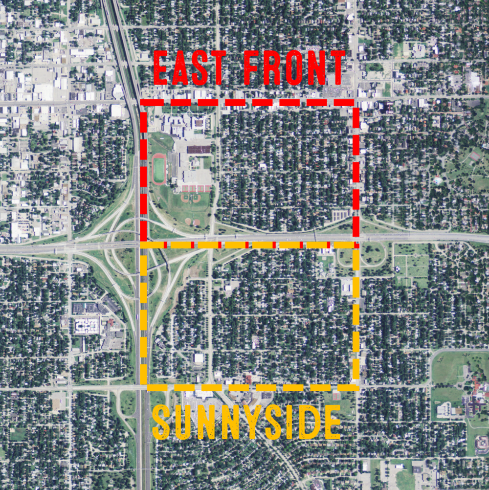 Located east of Downtown Wichita, the East Front and Sunnyside neighborhoods once were vibrant and connected - the adjacent neighborhoods gained synergies from the other. When Kellogg became an expressway in the 1970s, large swaths of each neighborhood were razed and the two neighborhoods became isolated from one another.
