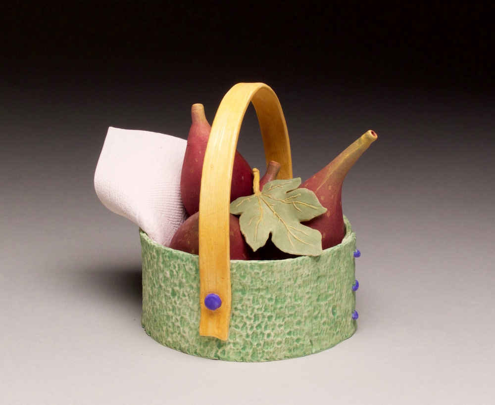 THREE FIG TEA BASKET/YELLOW HANDLE