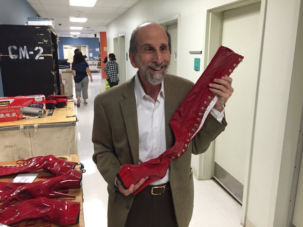Steve smiling with kinky boot
