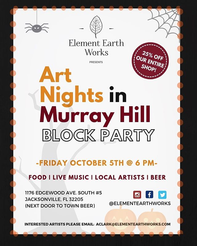 Join us this Friday at 6 PM for our October Art Nights in Murray Hill 🎃 Come down to the first block and support our local artists! There will be craft beer, food and lots of talented artists with their work for sale. This event is free to attend and is family/dog friendly!
