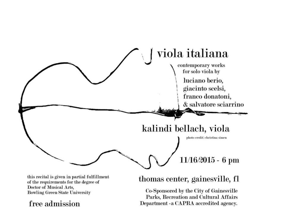 Luciano Berio's Sequenza VI, Franco Donatoni's Ali: Due pezzi, Giacinto Scelsi's Manto (I, II),, and Salvatore Sciarrino's Ai limiti della notte.