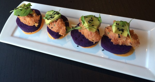 Purple Potato, Tuna Tartare, Avocado, & Sesame Seeds