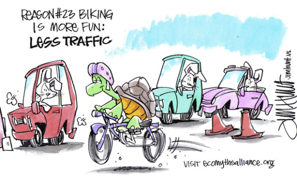 Even turtles move quickly on bikes.