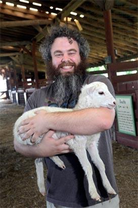 Patrick Rothfuss and a lamb.