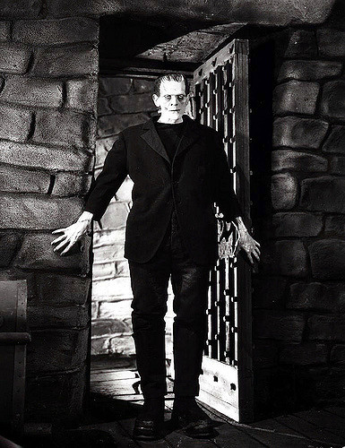 Boris Karloff as the Frankenstein monster.