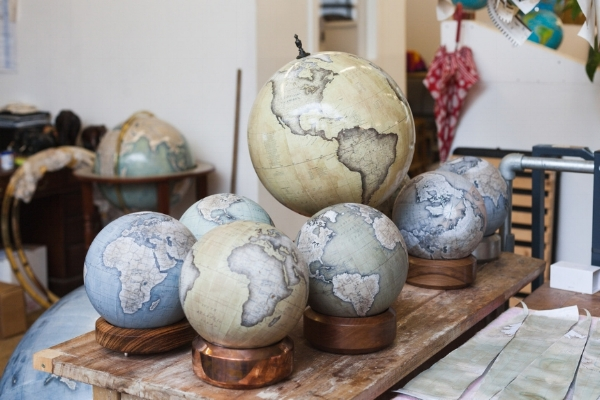 Some of the globes made by Bellerby & Co. Borrowed from the article.