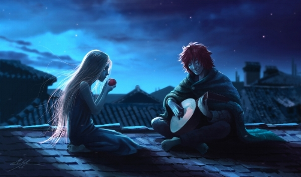 Auri and Kvothe by Manweri. This is not an illustration from the book, just to clarify.