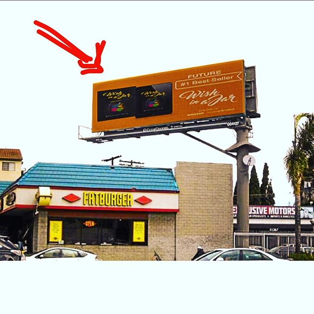 "What's better than fatburger? I'm glad you asked that question. All you have to do is look up at that billboard above it. ""Future #1 Bestseller"" all you have to do is speak what you want into existence. 🗣#ISAIDWHATISAID"