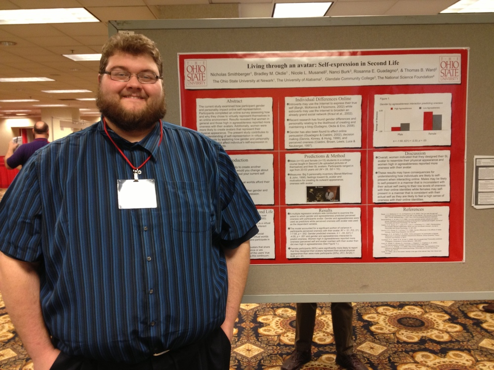 Research assistant Nick Smithberger presenting research at the Midwestern Psychological Association.