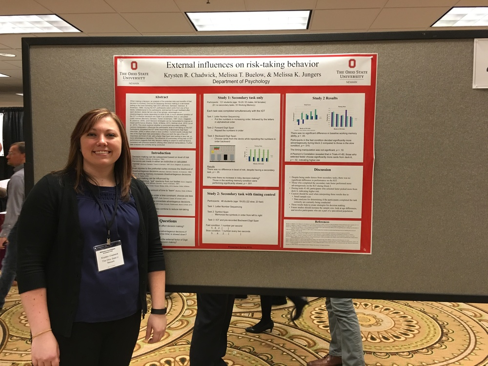 Research assistant Krysten Chadwick presenting research at the Midwestern Psychological Association.