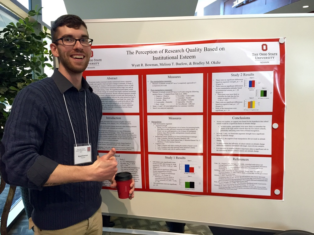 Research assistant Wyatt Bowman presenting research at the Newark Research Forum.