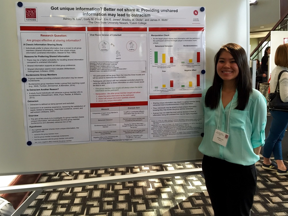 Research assistant Ashley Luu presenting research at the Newark Research Forum.