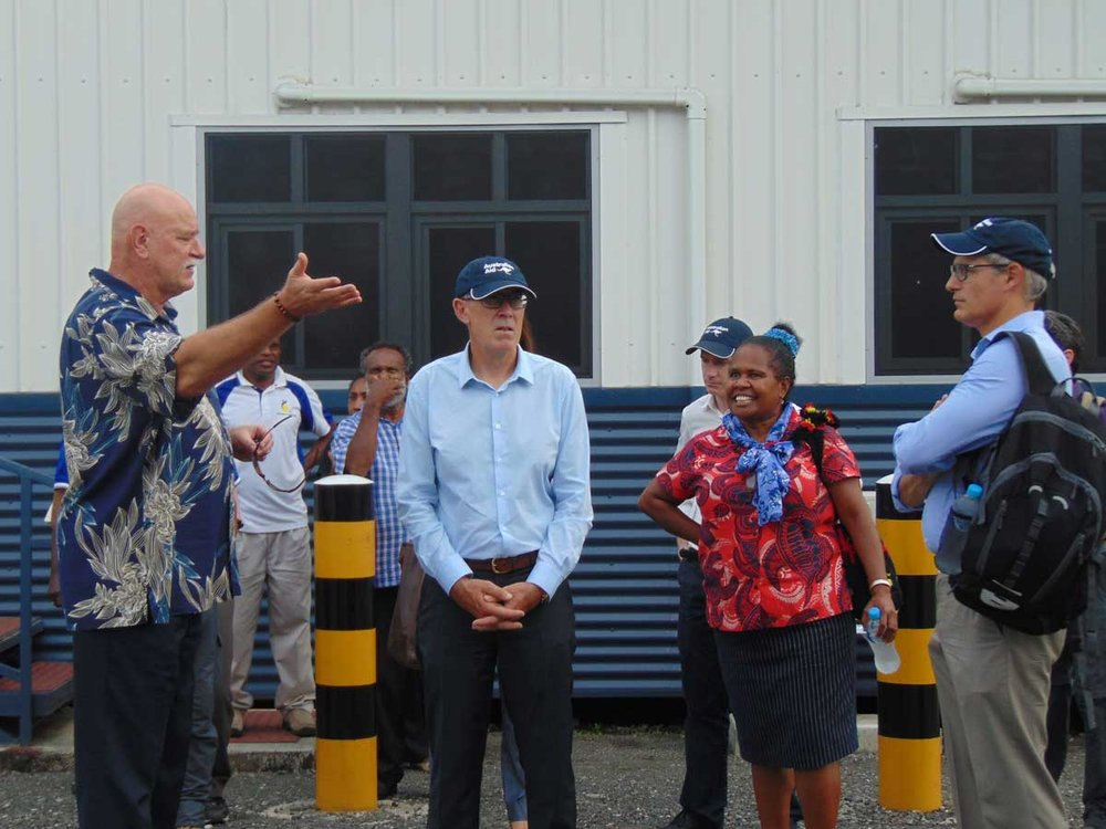 ANGAU Hospital CEO Dr Christopher Kenyhercz giving them the tour of the Hospital's new facilities.
